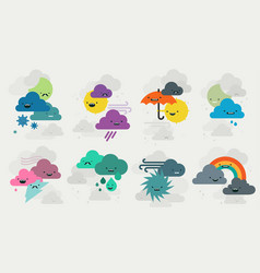 Cute weather emojis characters collection vector