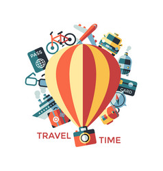 Digital yellow travel icons vector