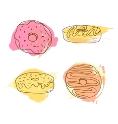 Donut Set of 4 hand drawn vector