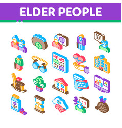 Elder people pensioner isometric icons set vector