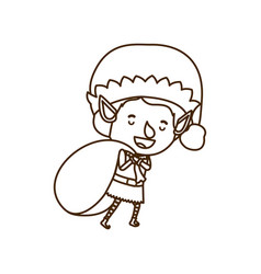 Elf with gift bag avatar character vector