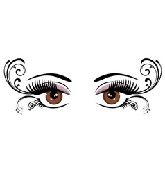 Eyes floral brown vector