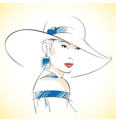 Fashion sketch of beautiful young female vector image