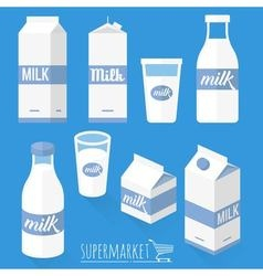 Flat design milk icons vector