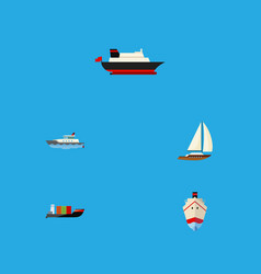 flat icon vessel set of cargo tanker delivery vector image