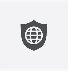 Globe shield icon vector