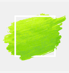 Green watercolor stroke with white frame grunge vector