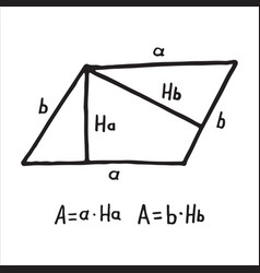 hand drawn parallelogram area sketch for vector image