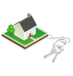 House attached to keys as keyring vector