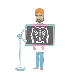 indian roentgenologist during x ray procedure vector image