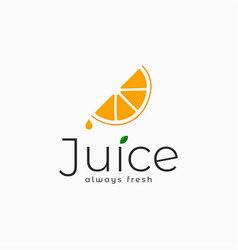 juice logo with orange slice on white background vector image