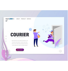 landing page template - courier homepage vector image