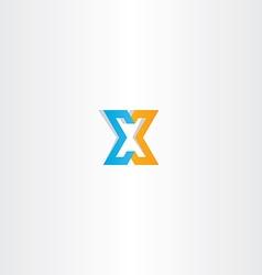 letter x orange blue icon sign vector image