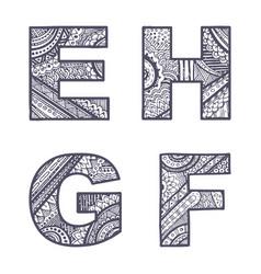 Letters set e-h vector