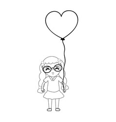 line pretty girl with hairstyle and heart balloon vector image