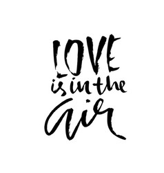 love is in the air handdrawn calligraphy for vector image