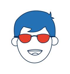Man cartoon with blue hair face portrait vector