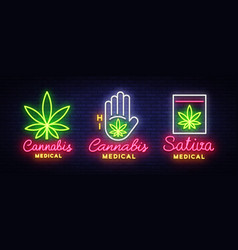 Marijuana medical collection neon sign and logo vector
