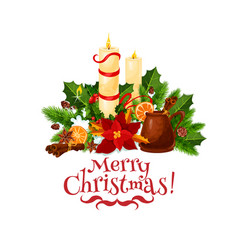 merry christmas candle wreath greeting icon vector image
