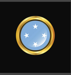micronesiafederated states flag golden button vector image