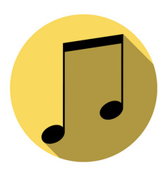 music sign flat black icon vector image