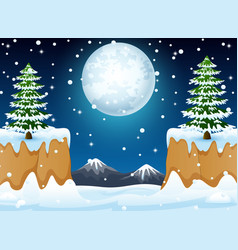 night winter landscape with snow hills and mountai vector image