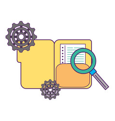 office folder file magnifying glass gears vector image