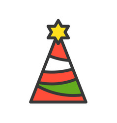 Party hat merry christmas related icon set filled vector