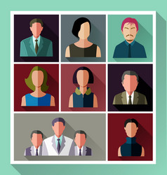 people flat icon set vector image
