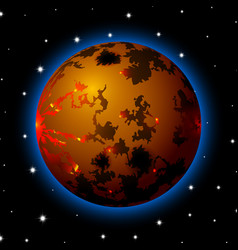 Planet in space with stars shiny cartoon or game vector