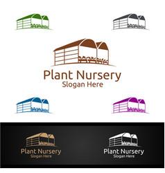 plant nursery gardener logo with green garden vector image