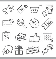 promotion and coupon line icons on white vector image