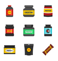 protein icons set flat style vector image