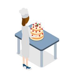 restaurant confectioner standing near big cake vector image