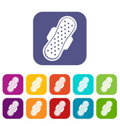 Sanitary napkin icons set flat vector