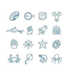 Seafood fish thin line icons vector