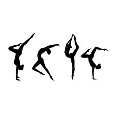 set black silhouette gymnastic girls vector image