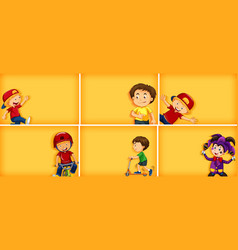 set different kid characters on yellow color vector image