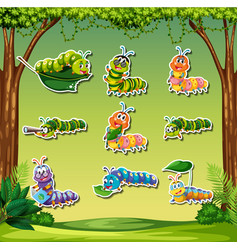 Set of caterpillar sticker on forest background vector