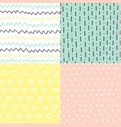 Set of handdrawn seamless patterns simple texture vector