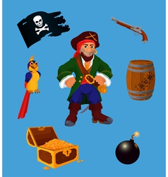 Set of pirate design elements vector