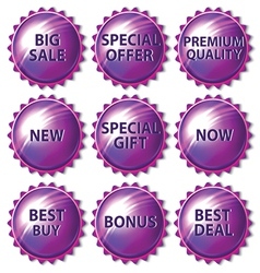 Set of purple stickers on white background vector image