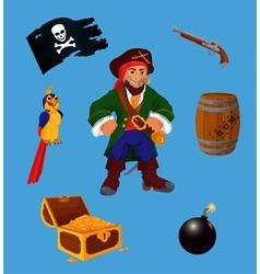 set pirate design elements vector image