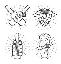 set t-shirt beer prints vintage vector image