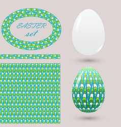 set with green easter eggs and design elements vector image