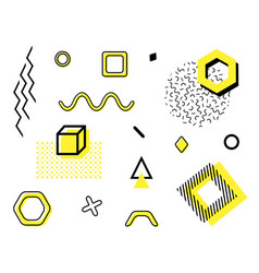 set with trendy geometric shapes retro funky vector image