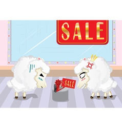Sheeps on Shopping3 vector image