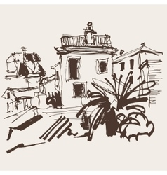Sketch drawing of historical building with palm in vector