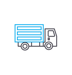 small truck thin line stroke icon small vector image