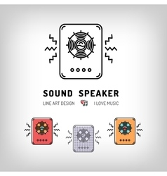 Sound speaker isolated line art icon Musical vector image